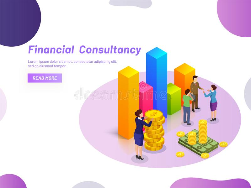 Financial Consultancy concept, miniature lady consultant providing monetary solution to business people, Responsive web template. Design vector illustration