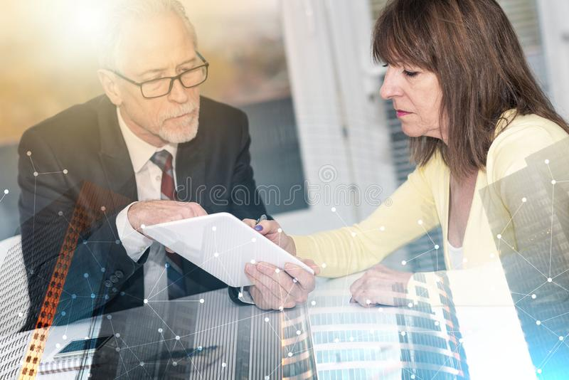 Woman meeting a consultant for advices; multiple exposure stock photography