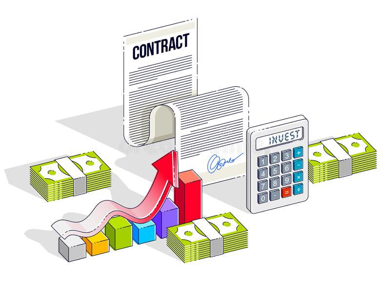 Financial contract concept, paper document and cash money stacks with calculator and growth bar chart isolated. Isometric vector. Business and finance vector illustration