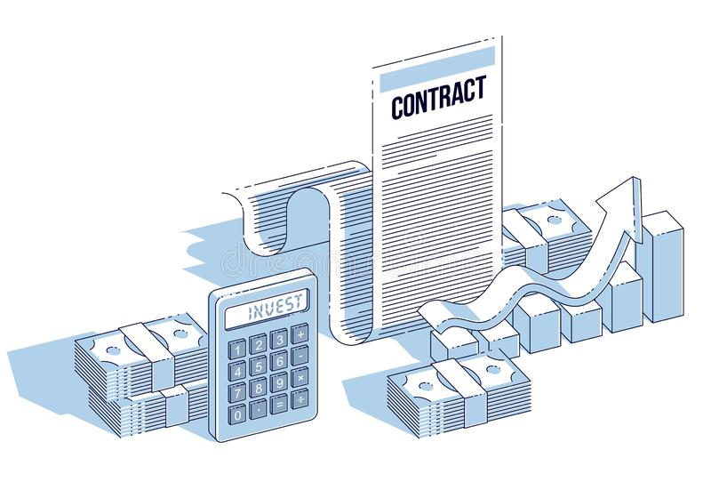 Financial contract concept, paper document and cash money stacks with calculator and growth bar chart isolated. Isometric vector. Business and finance royalty free illustration