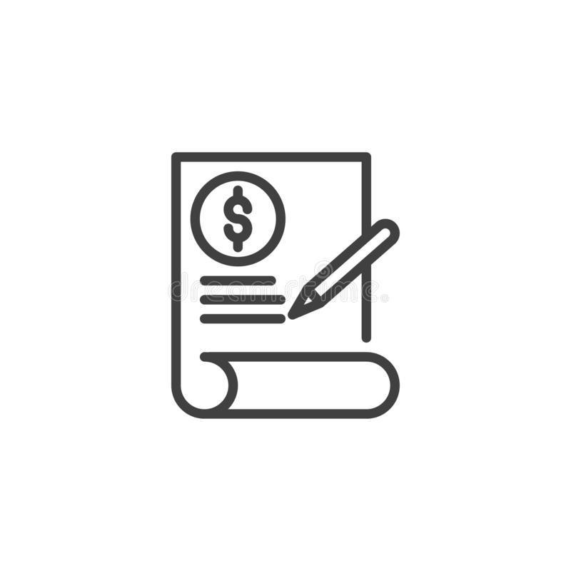 Financial contract line icon stock illustration