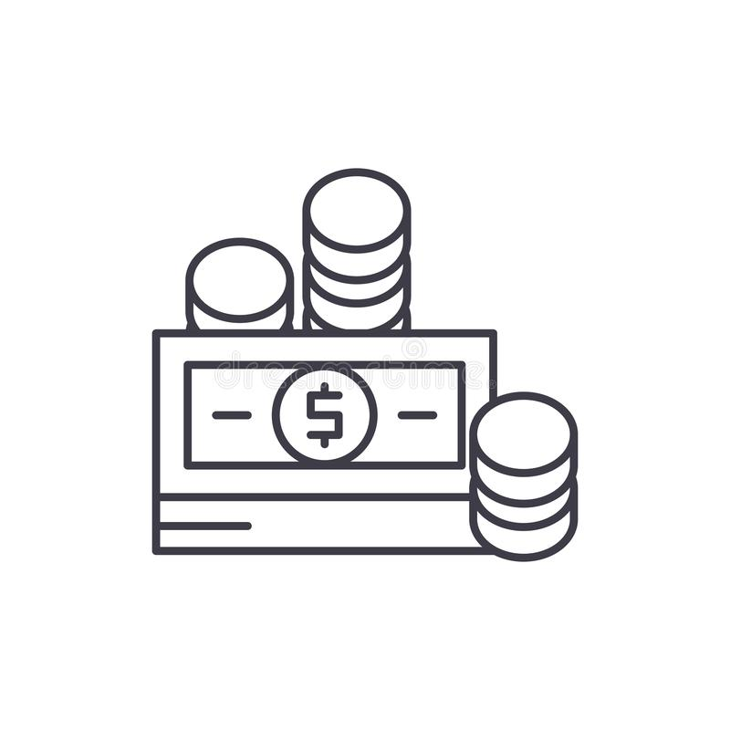 Financial contributions line icon concept. Financial contributions vector linear illustration, symbol, sign royalty free illustration