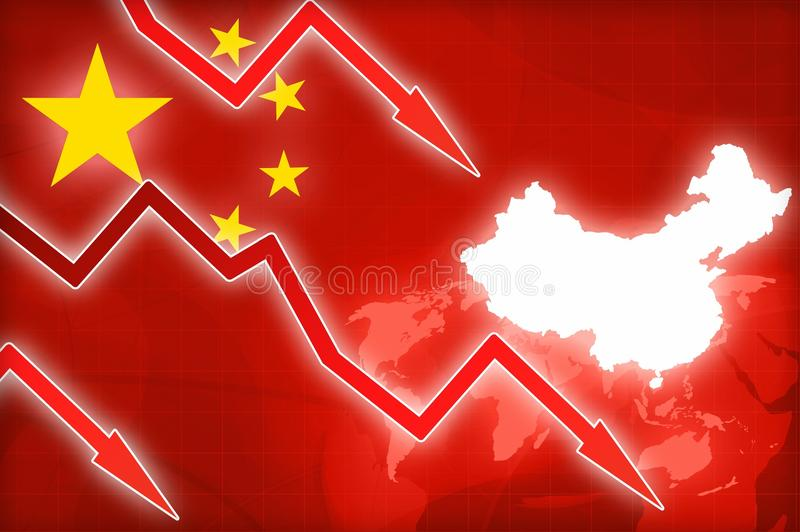 Financial crisis in China red arrow - concept news background. Illustration stock illustration