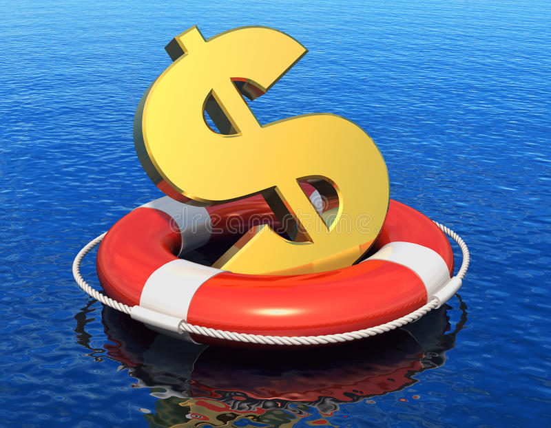 Financial crisis concept. Golden dollar symbol in lifesaver belt floating on blue water surface with reflection effect stock illustration