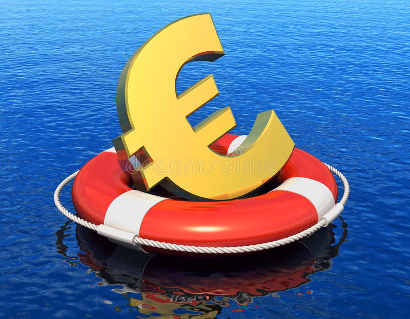 Financial crisis in Europe concept. Golden Euro symbol in lifesaver belt floating on blue water surface with reflection effect royalty free illustration