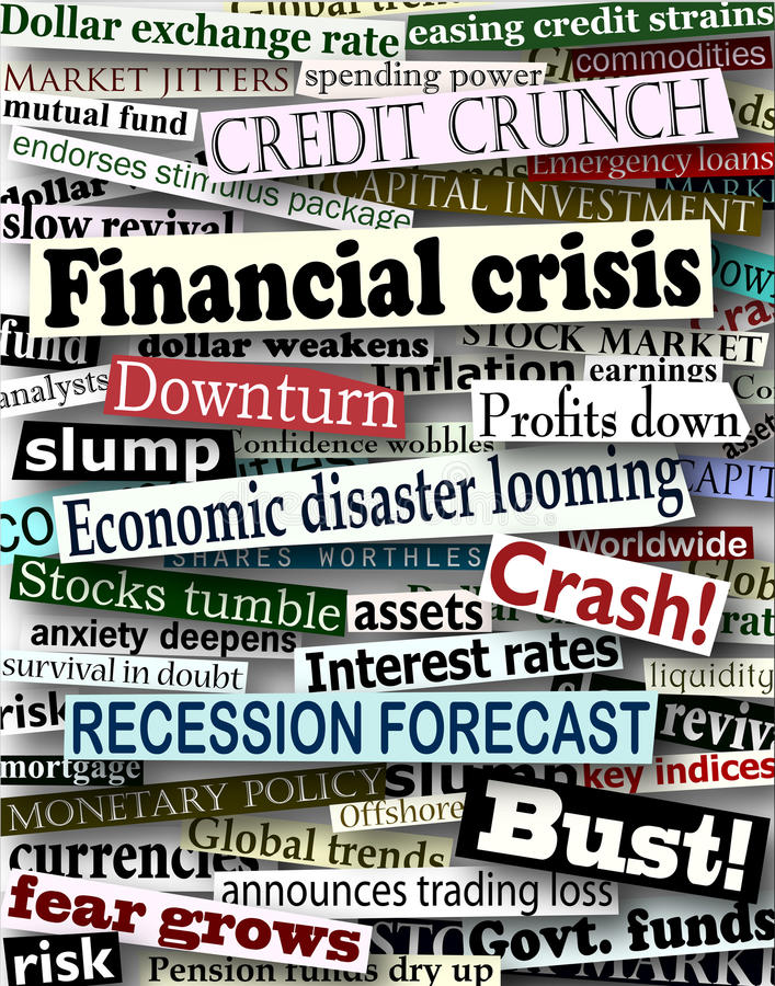 Financial crisis headlines. Background design of newspaper headlines about economic problems royalty free illustration