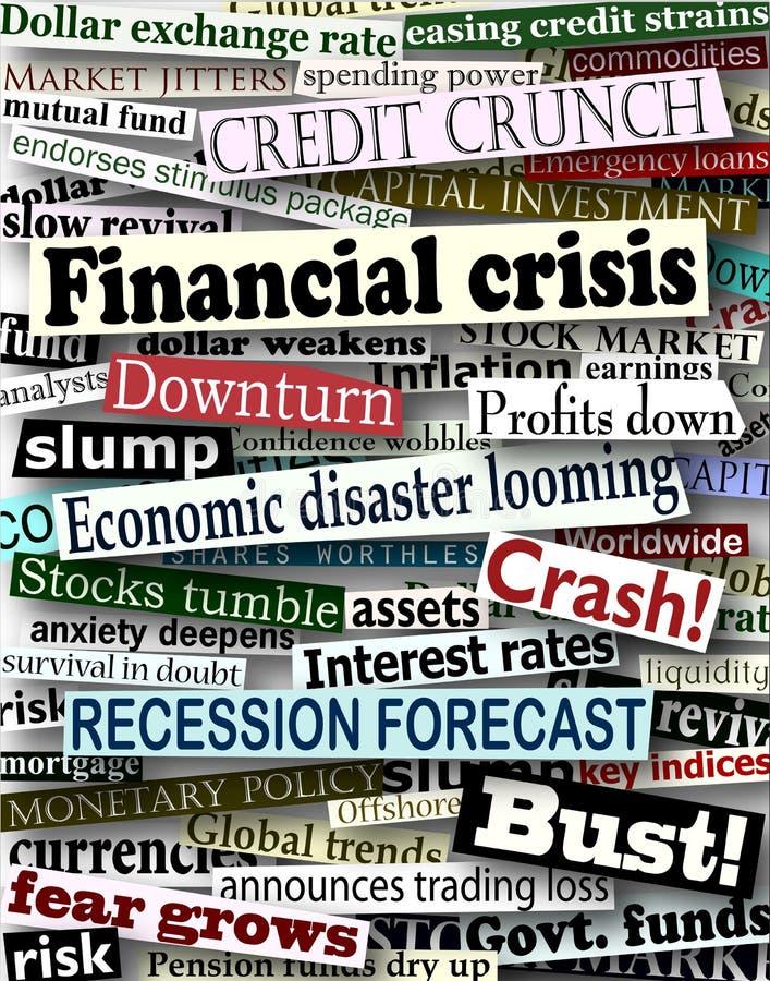 Financial crisis headlines royalty free illustration