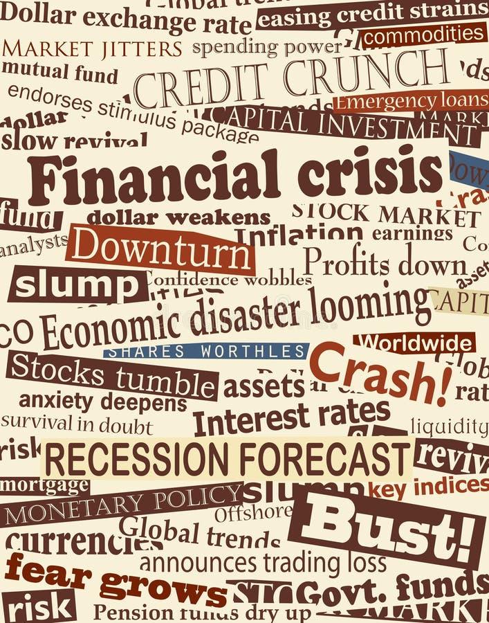 Financial crisis headlines. Background editable design of newspaper headlines about economic problems stock illustration