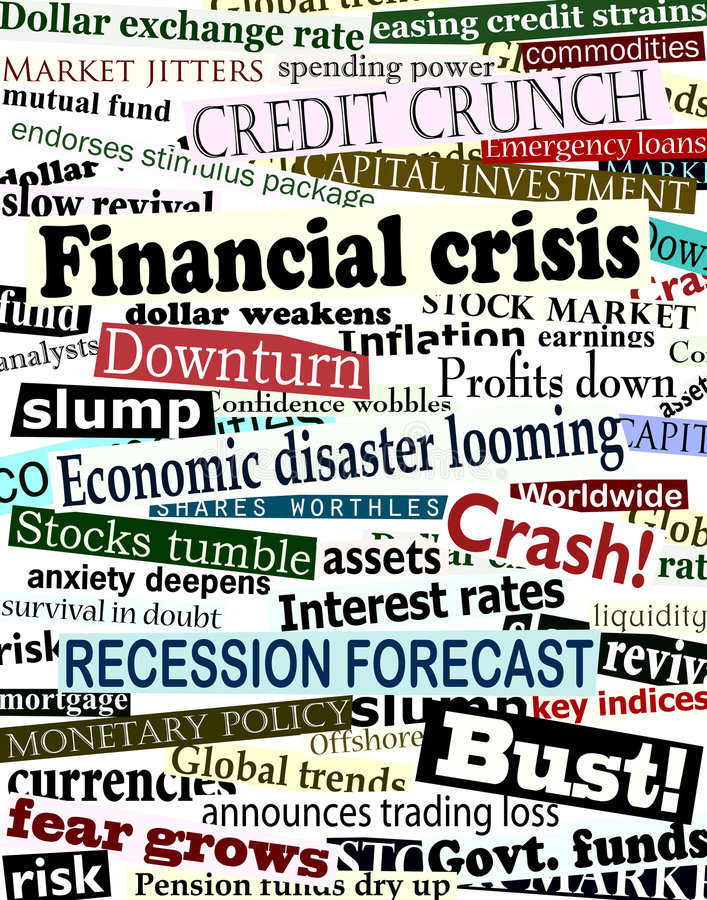 Financial crisis headlines vector illustration