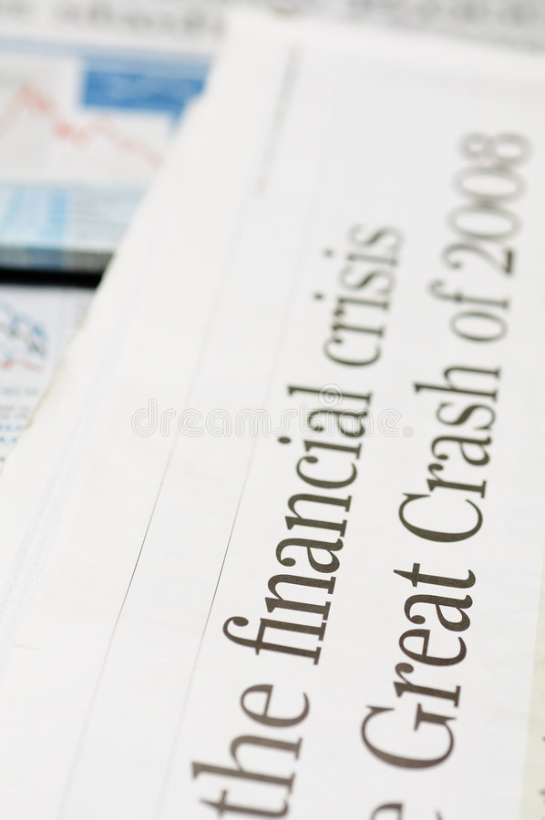 Financial crisis headlines royalty free stock image