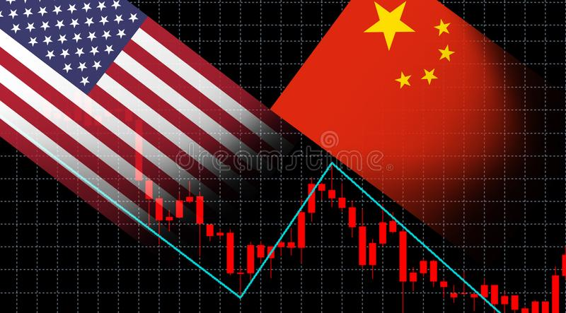 Financial crisis stock market graph chart of investment screen trading America flag and China flag stock illustration