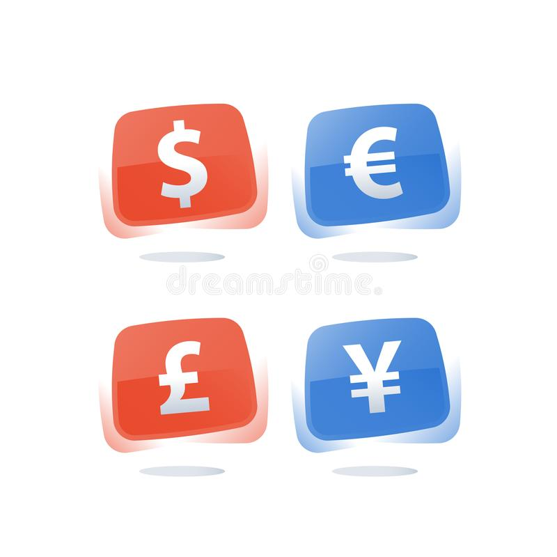 Financial currency rate and exchange, dollar sign, euro symbol, British pound, Japanese yen, red and blue icons royalty free illustration