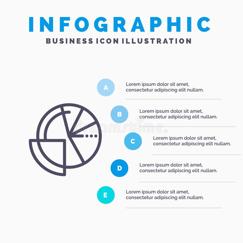 Financial Data, Analysis, Analytics, Data, Finance Line icon with 5 steps presentation infographics Background stock illustration