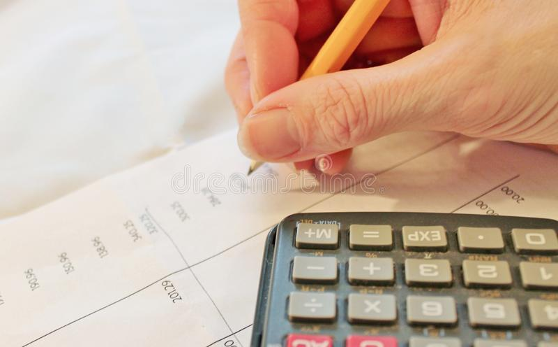 maths, tax calculator Financial data analyzing stock photo