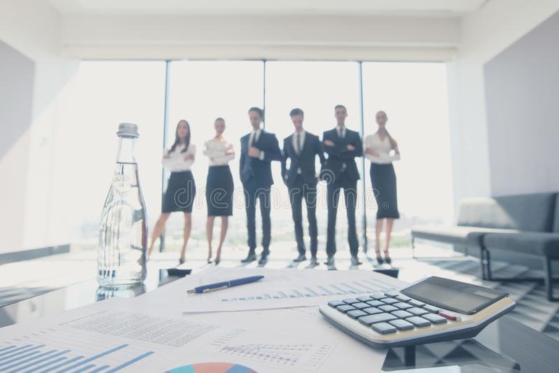 Financial data and business people stock image