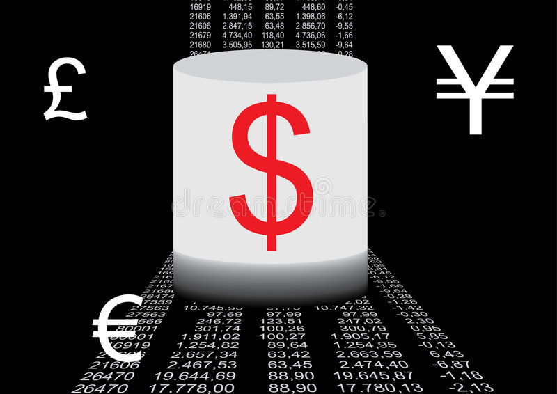 Financial data and currency si stock illustration