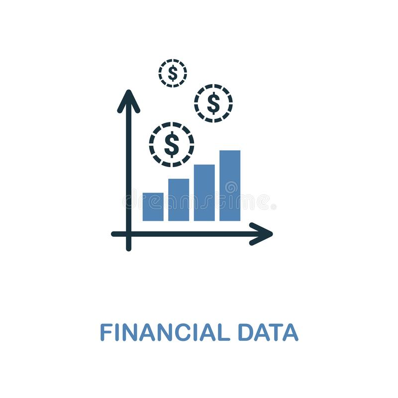Financial Data icon in two colors design. Pixel perfect symbols from personal finance icon collection. UI and UX. Illustration of. Financial Data creative icon royalty free illustration
