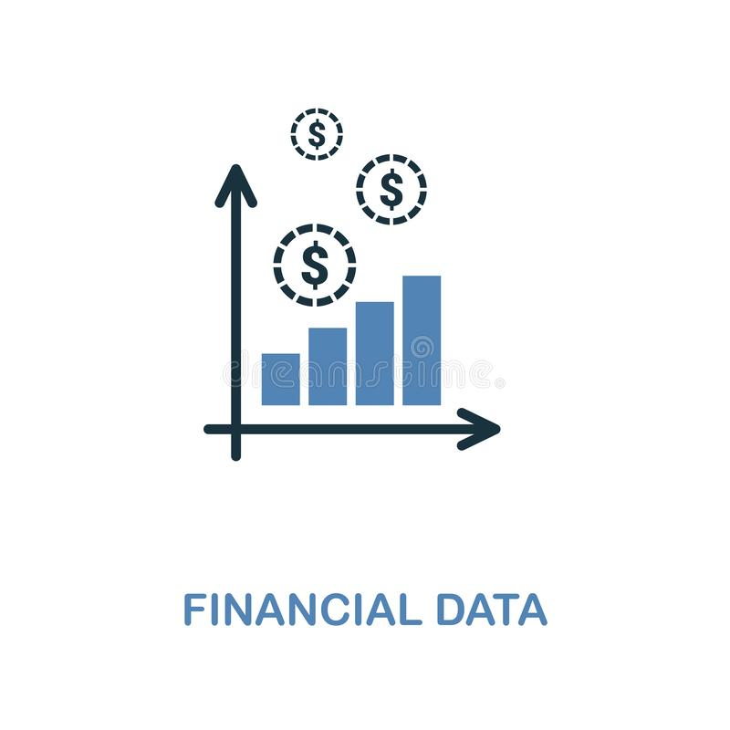 Financial Data icon in two colors design. Pixel perfect symbols from personal finance icon collection. UI and UX. Illustration of. Financial Data creative icon vector illustration