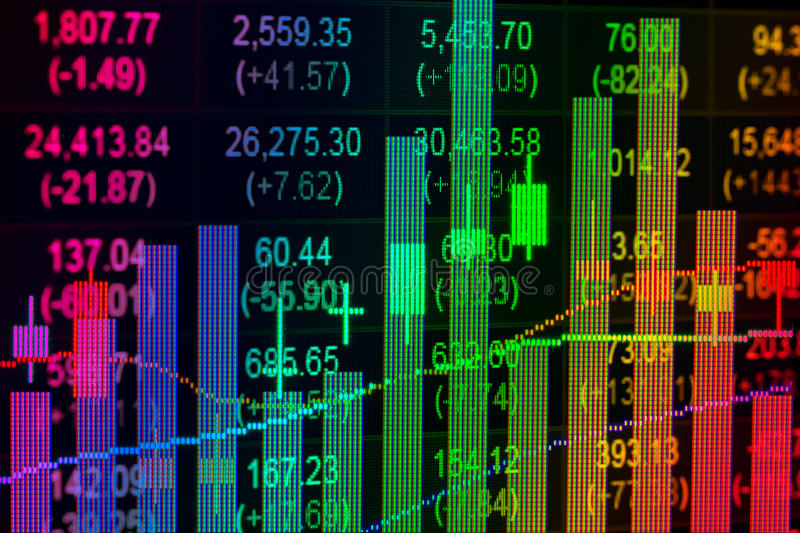 Financial data on a monitor,candle stick graph of stock market ,. Stock market data on LED display concept stock images