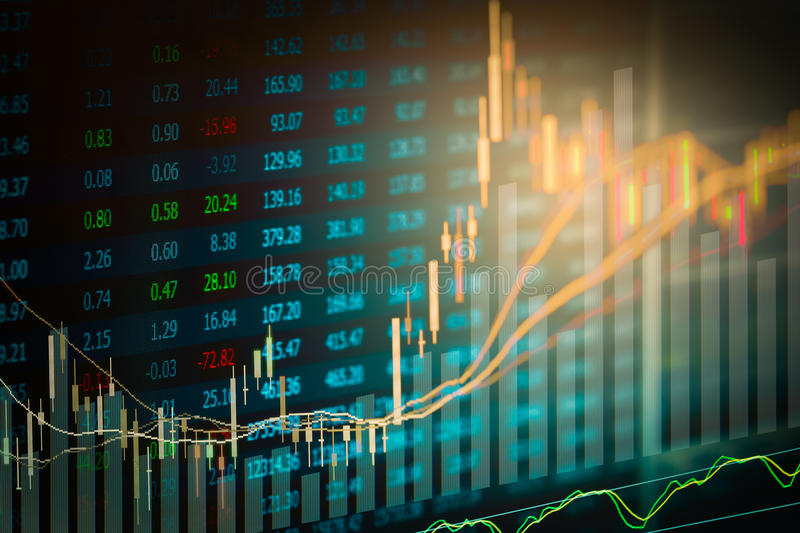 Financial data on a monitor,candle stick graph of stock market ,. Stock market data on LED display concept stock photo