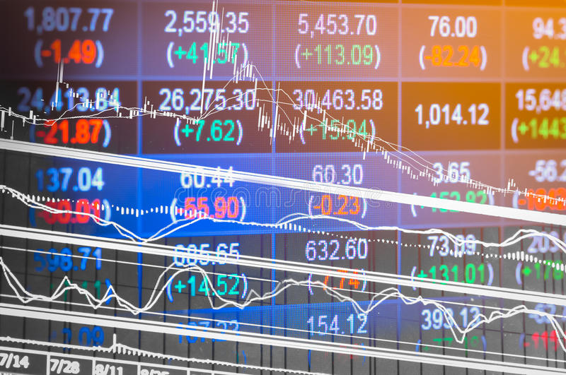 Financial data on a monitor,candle stick graph of stock market ,. Stock market data on LED display concept stock image