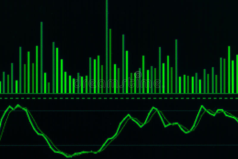 Financial data on a monitor,candle stick graph of stock market ,. Stock market data on LED display concept stock photos