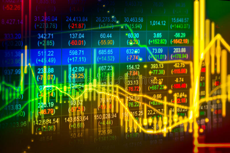 Financial data on a monitor,Stock market data on LED display con stock photos