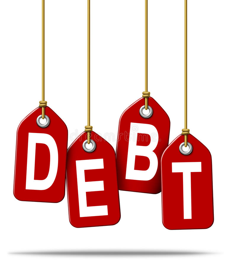 Financial Debt Problems. Financial debt money problems concept and over spending using credit cards and borrowing institutions resulting in bankruptcy and loss stock illustration
