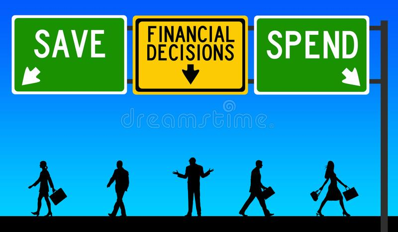 Financial decisions save spend. Deciding whether to spend or save vector illustration