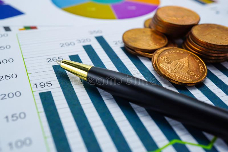 Saving stack coins money Charts Graphs. Financial development, Banking Accounting, Statistics Investment Analytic research data, S. Financial development royalty free stock photography