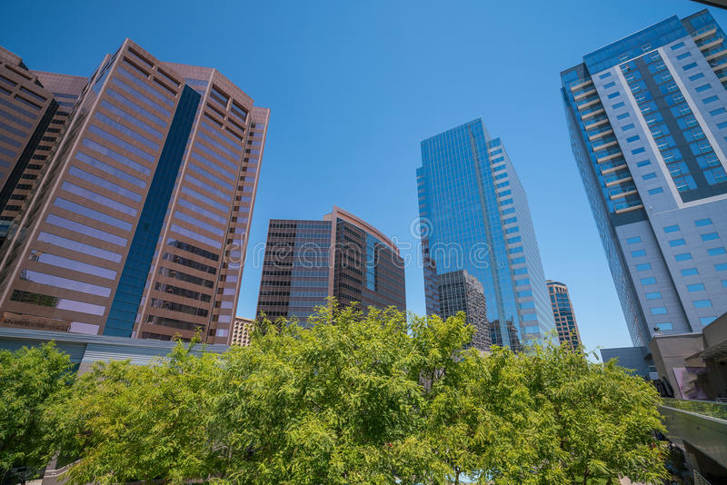 Financial district area of downtown Phoenix Arizona. In USA royalty free stock photography