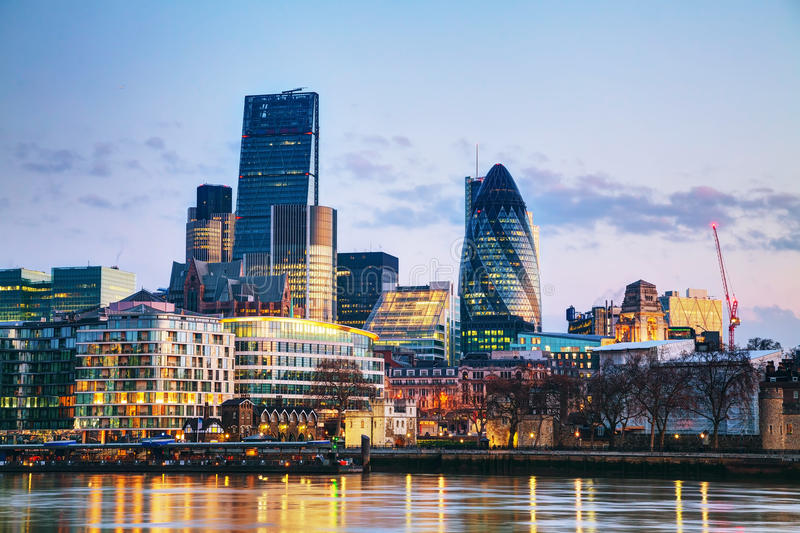 Financial district of the City of London. In the morning stock photo