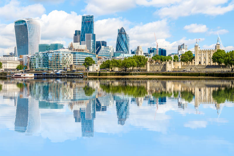Financial district of London stock image