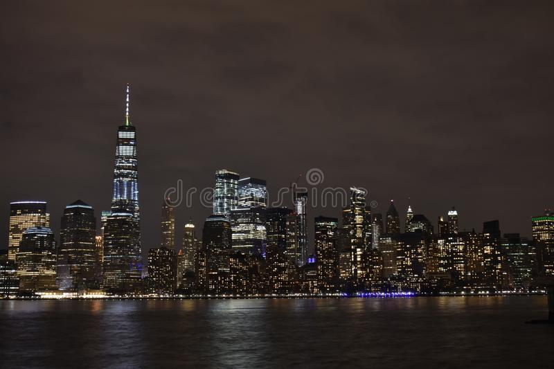 Financial District, NYC at Night -7 royalty free stock image