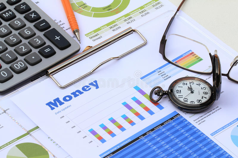 Financial and economic news update. Analysis stock photography