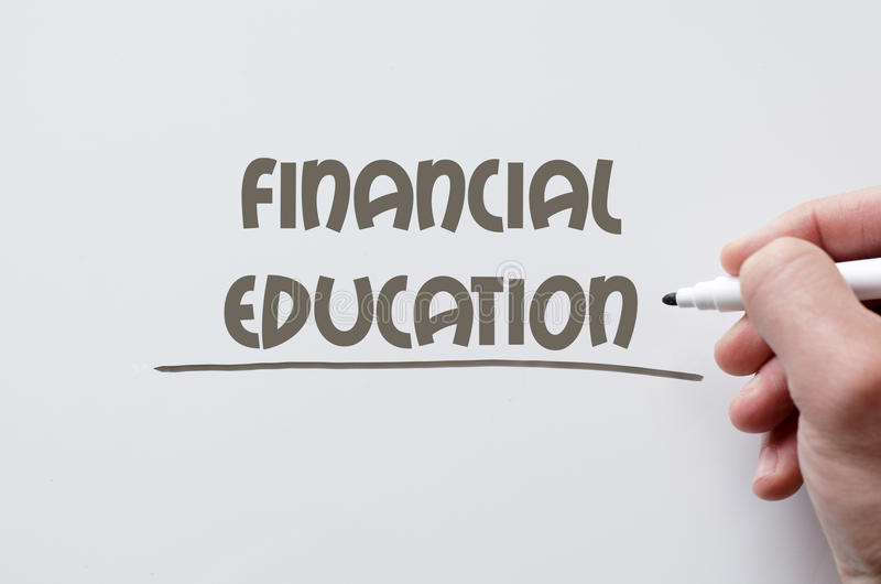 Financial education written on whiteboard royalty free stock images