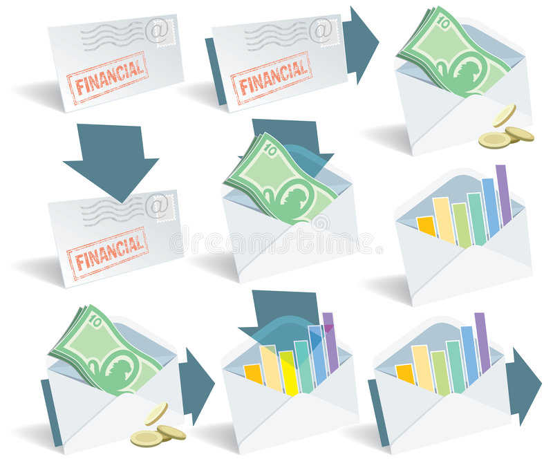 Financial email icons vector illustration