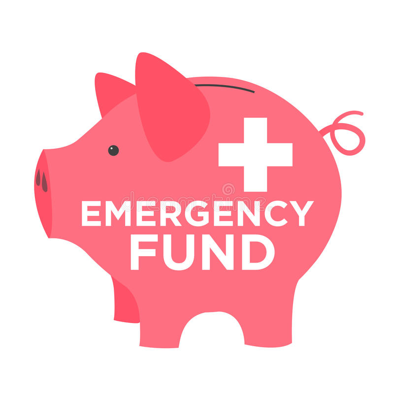 Financial Emergency Fund Piggy Bank. Pink Financial Emergency Fund Piggy Bank stock illustration