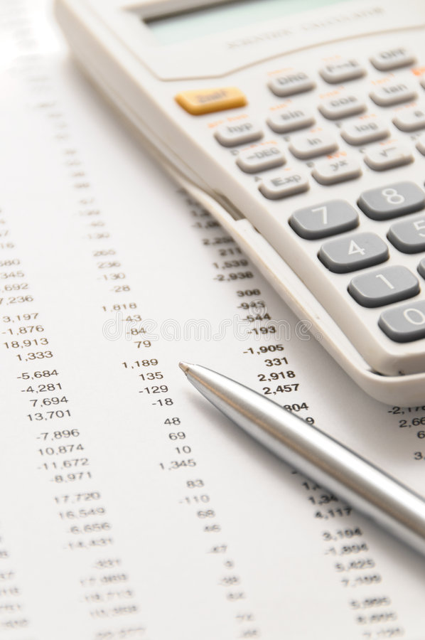 Financial figures on account balance worksheet stock images