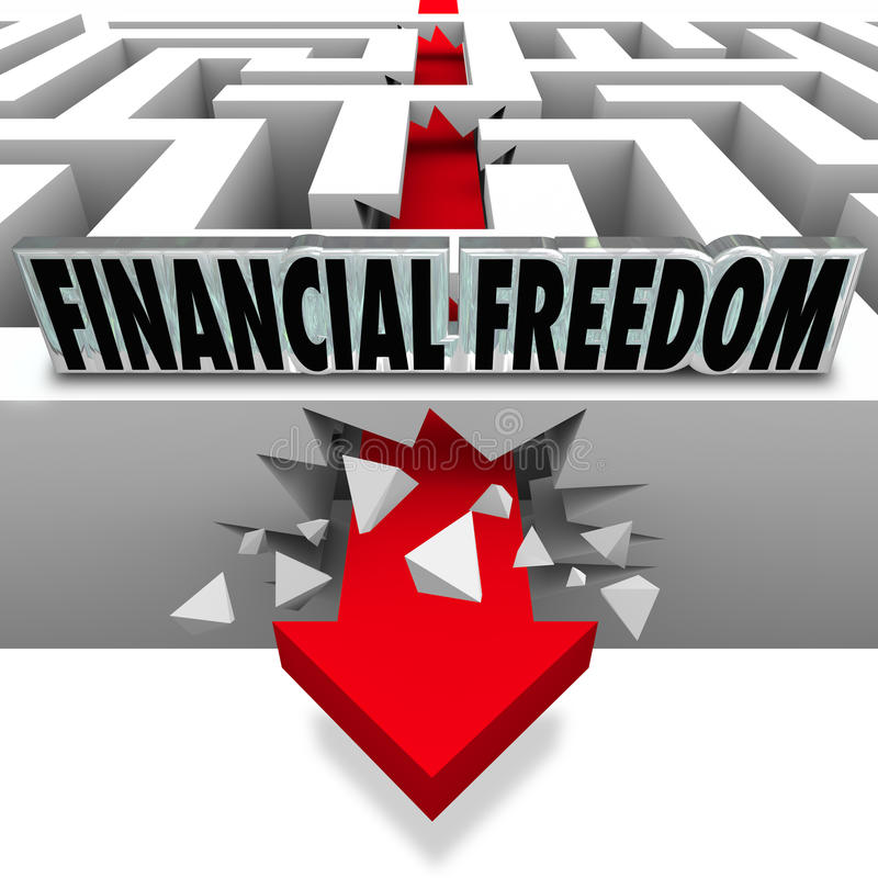 Financial Freedom Break Through Money Problems Bankruptcy Bills royalty free illustration