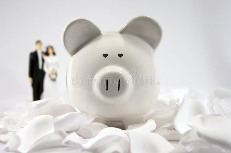 Financial Future - Marriage. Financial budgeting and planning after marriage. This particular image has heart-shaped eyes