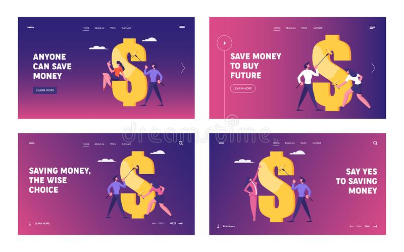 Financial Goal Achievement, Website Landing Page Set. Successful Business Man and Woman Painting Huge Dollar Sign. With Gold Paint Earning Money Cash Web Page royalty free illustration