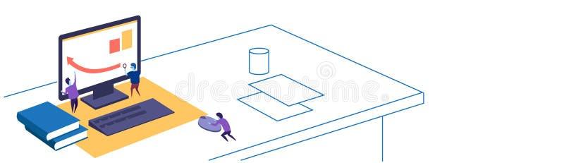 Financial graph arrow up people working together using magnifier teamwork concept workspace sketch doodle horizontal. Banner vector illustration stock illustration