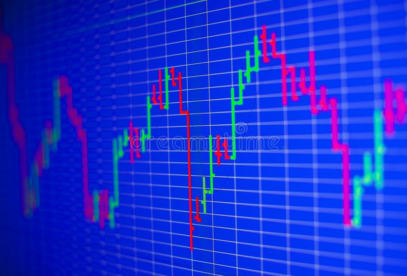 Financial graph on a computer monitor screen. Background stock chart. Analysing stock market data on a monitor. Blue background with stock chart. Finance stock images