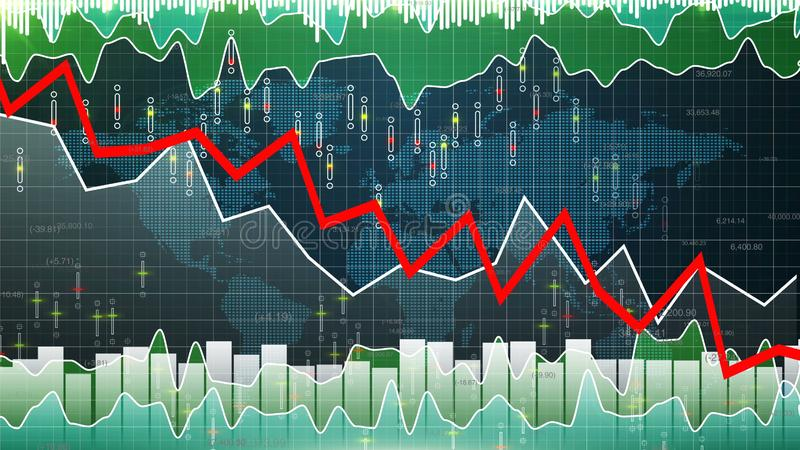 Financial graph going down, market downfall, bear stock market losing value. Stock photo vector illustration