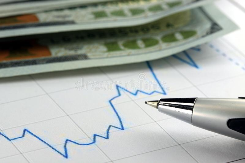 Financial graph used for accounting, analyzing or stock market trading. Financial graph with US currency and pen stock images