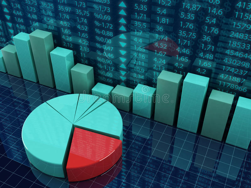 Financial graphic charts. 3d illustration of finance and economy concept