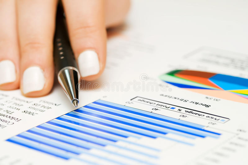 Financial graphs and accounting. Stock market graphs and charts analysis stock photography