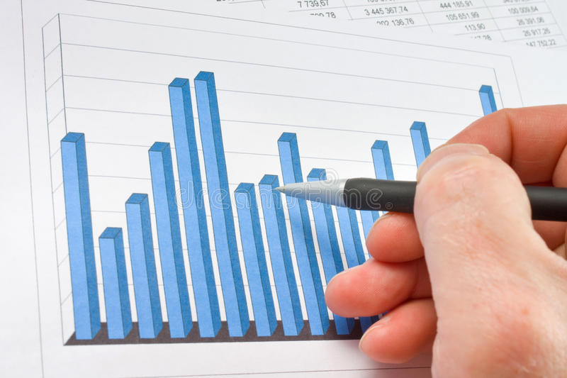 Financial graphs analysis. Close up royalty free stock photo
