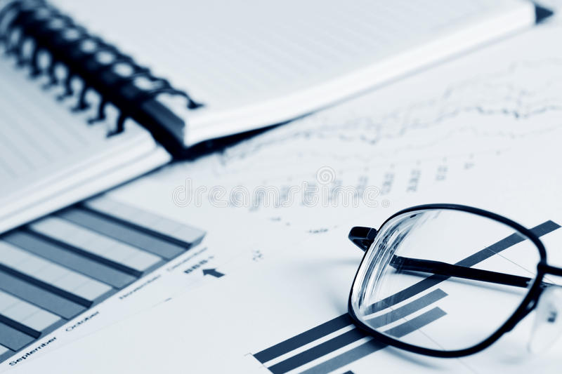 Financial graphs and charts. Business reports and financial accounting stock photo